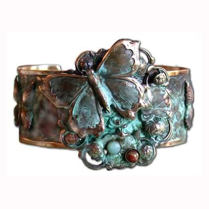 butterflies and flower patina brass cuff bracelet
