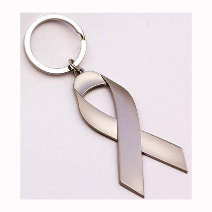 silver tone cancer awareness ribbon keychain