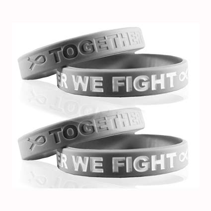 grey silicone cancer awareness bracelets