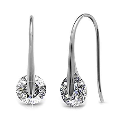 white gold plated crystal drop earrings