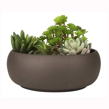 brown ceramic succulent planter