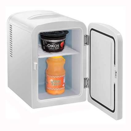 white portable mini-fridge