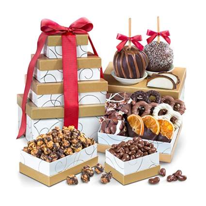 chocolate covered fruit and nut gift assortment