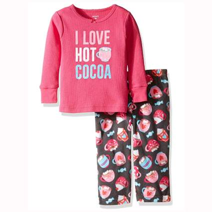 pink and brown chocolate print baby pajamas
