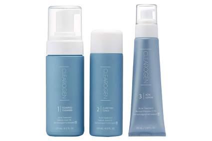 Blue bottles of Clearogen acne treatment