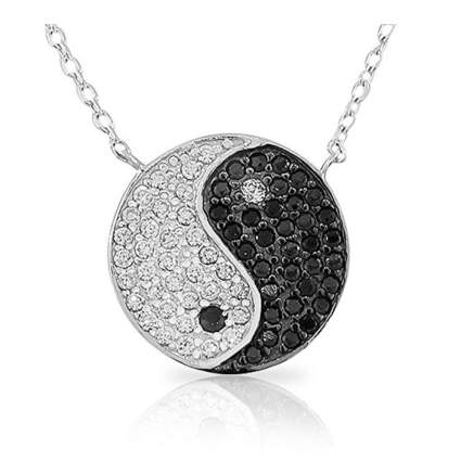 crystal studded yin and yang pendant