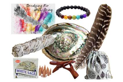 Energy cleansing kit with abalone and sage