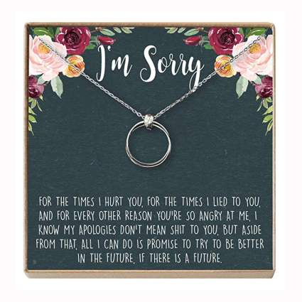 silver plated necklace in apology gift box