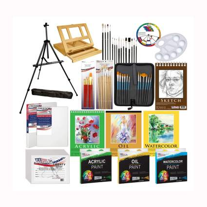deluxe artist painting set & wooden easel