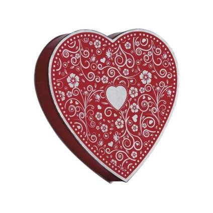 Elaborately decorated chocolate heart box