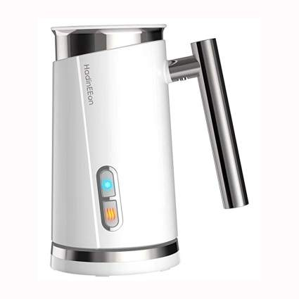 white electric milk frother and steamer