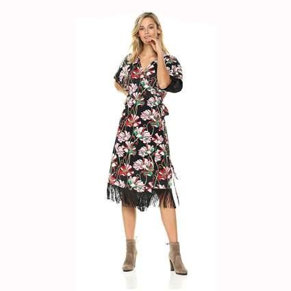 boho print kimono sleeve wrap dress