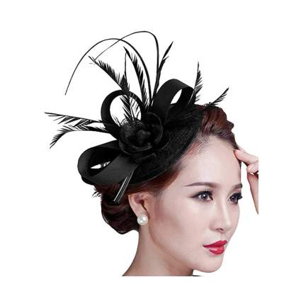 Black feather facinator hat