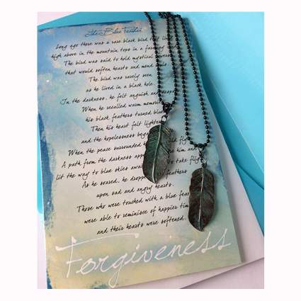 forgiveness feather necklace gift set