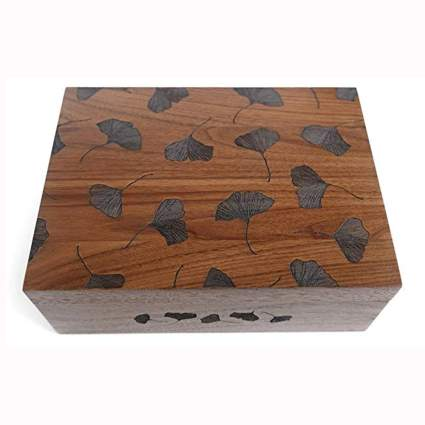 ginko leaves laser cut wood box