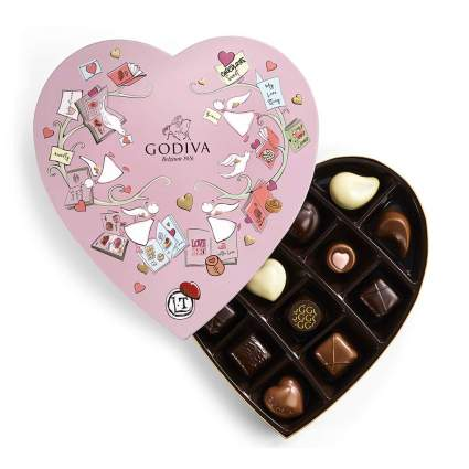 Pink heart of Godiva chocolates