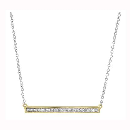 yellow gold and diamond bar pendant necklace