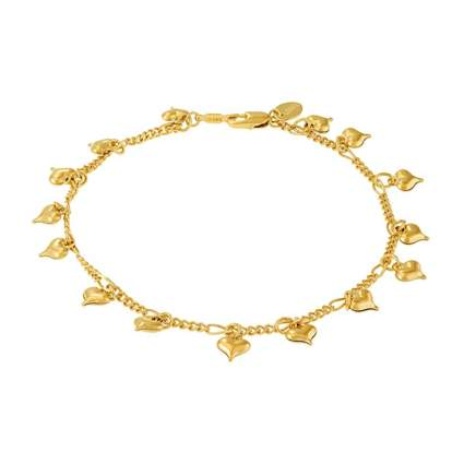 gold plated puffed heart charm ankle bracelet