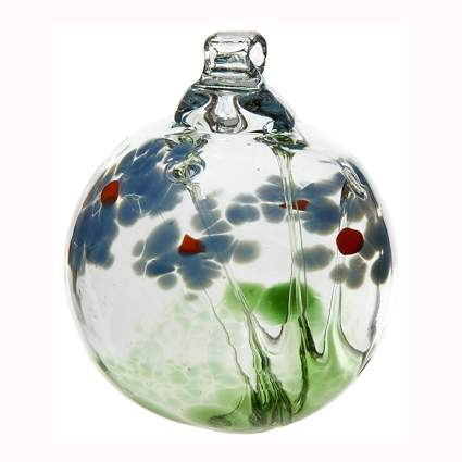 handblown glass flower hanging ball