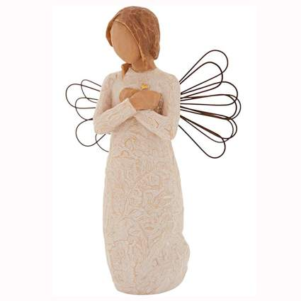 hand painted rustic angel figurine