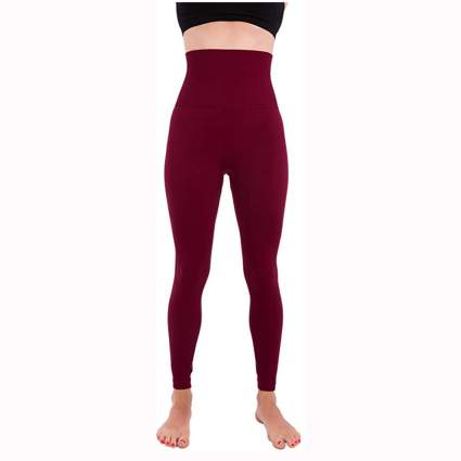 burgundy high waisted compression leggings