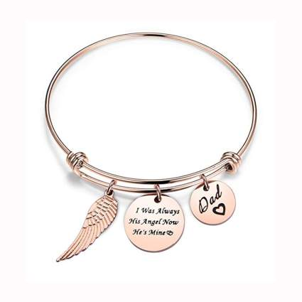 rose gold tone memorial charm bracelet