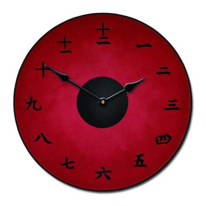 kanji red wall clock