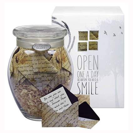 jar of tiny sympathy cards
