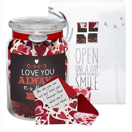 romantic messages in a glass jar