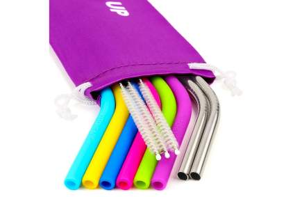 SIlicone and metal straws