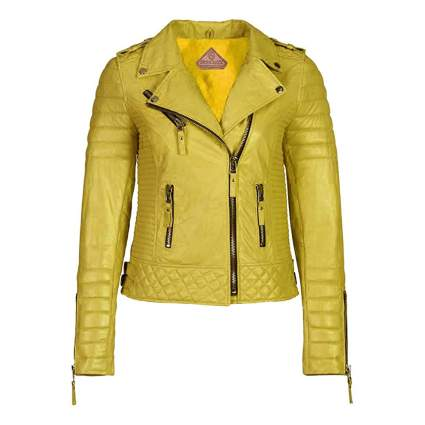 yellow lambskin leather jacket