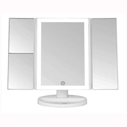 Lighted vanity makeup mirror with touch control