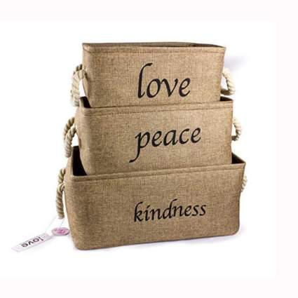 love peace and kindness storage baskets