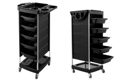 Rolling cart with black drawers