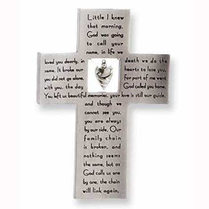 silver memorial wall cross