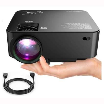 black mini home theatre projector