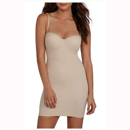 nude shapewear slip with built in bra