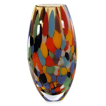 confetti hand blown glass vase