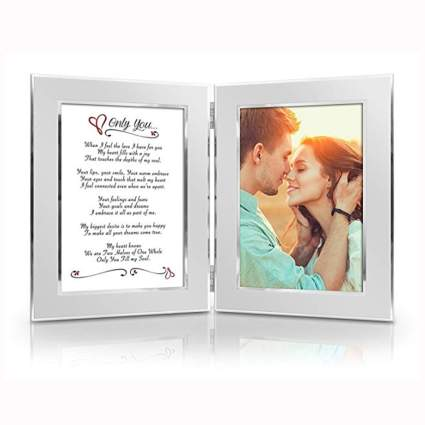 romantic silver picture frame with poem