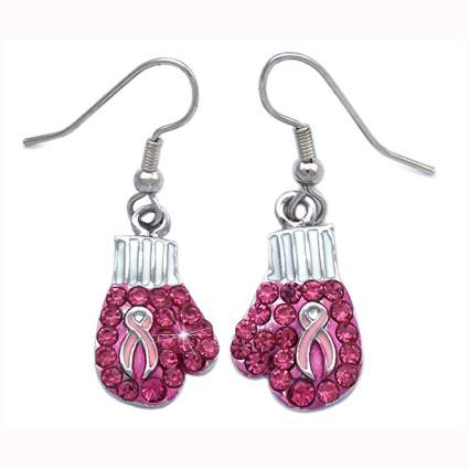 pink ribbon crystal studded boxing glove earrings