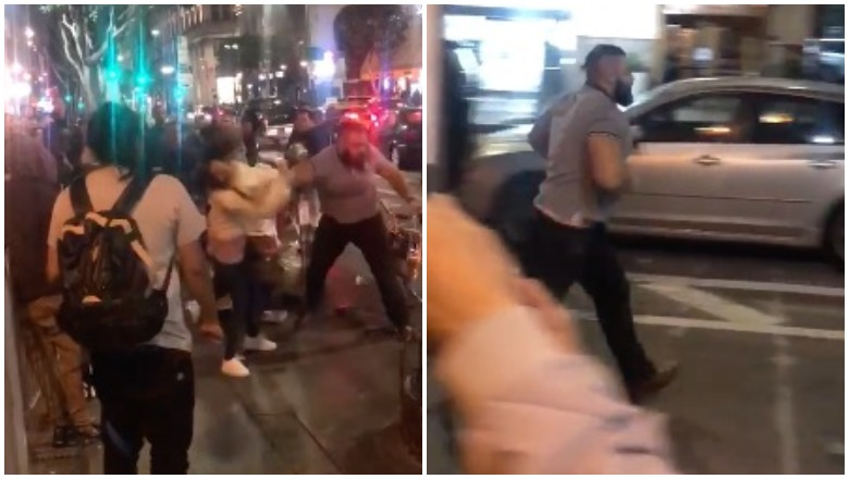 Man punches women at hot dog stand