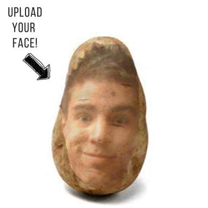 Potato with someone's face printed on it