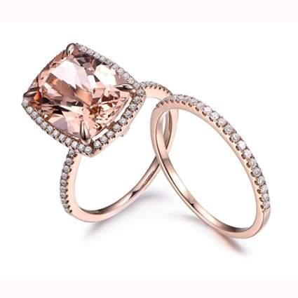 14k rose gold morganite and diamond engagement ring