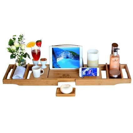 wooden bath caddy tray