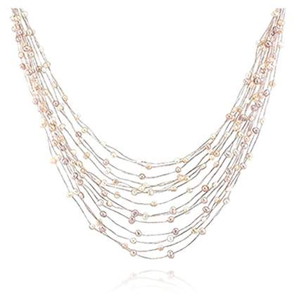 silk thread and freshwater pearl multi-strand necklace