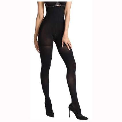 black high waisted thigh shaping tights