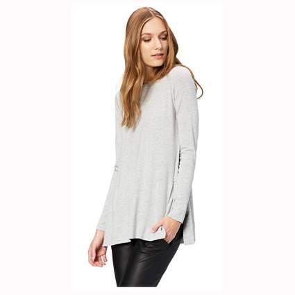 light gray split hem women's tunic