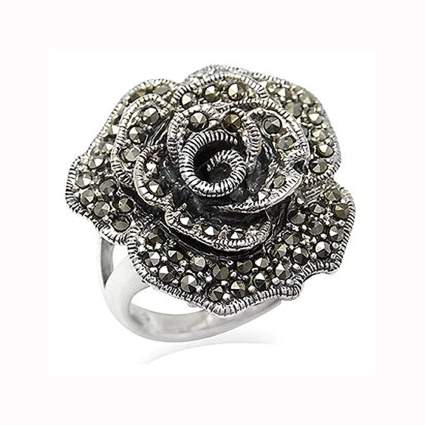 sterling silver and marcasite rose ring