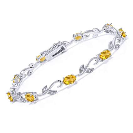 silver citrine and diamond tennis bracelet