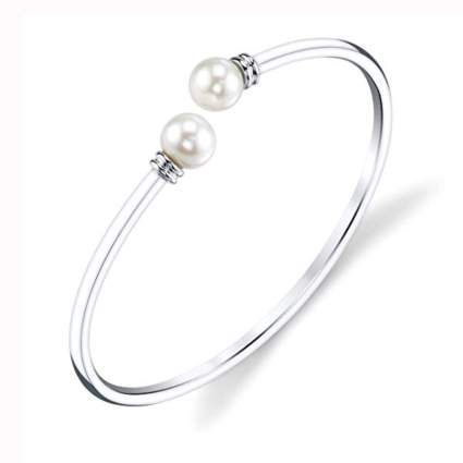 sterling silver and pearl bangle bracelet